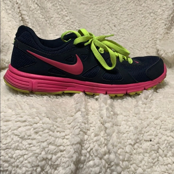 running shoes sells best place Nike Shoes   Womens Navy Blue Hot Pink Neon Green Sneaker   Poshmark